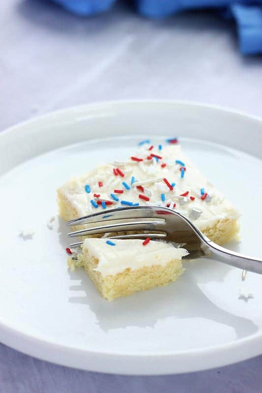 Sugar cookie bars with fork cut
