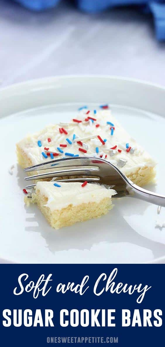 These easy sugar cookie bars are soft, chewy, and topped with a delicious vanilla buttercream! Simple to make and a family favorite recipe.