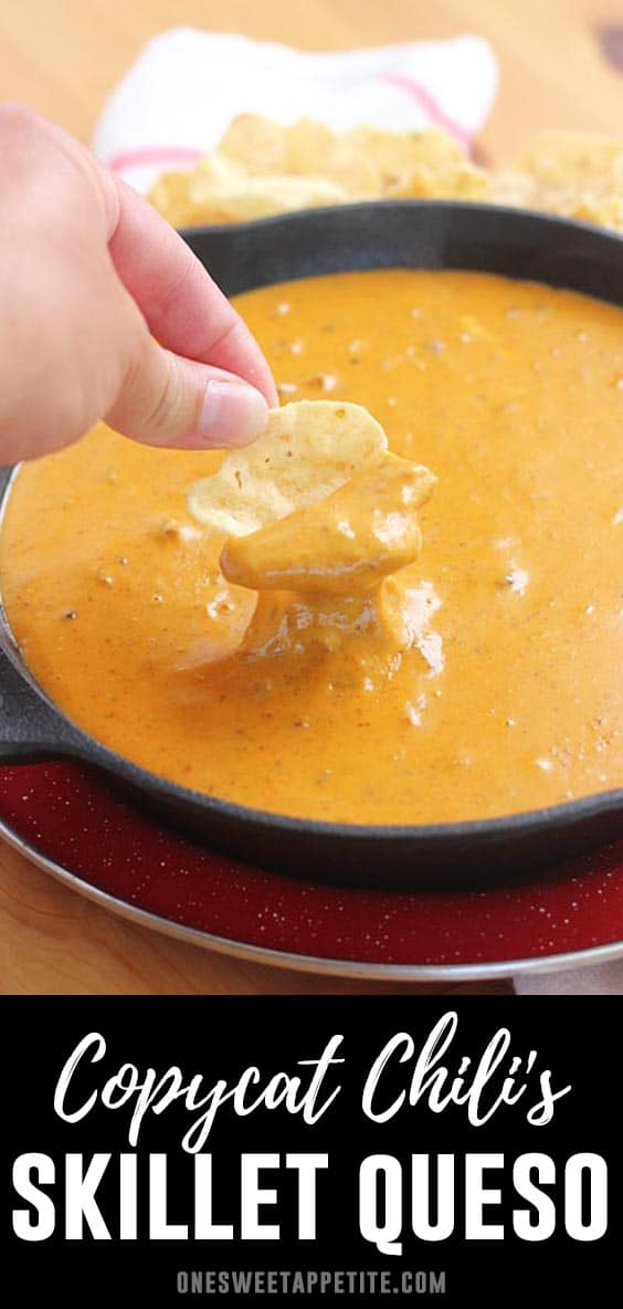 This copycat Chili's Skillet Queso tastes exactly like the original and takes only minutes to make! With just 5 easy ingredients, you can have this queso ready to serve in 20 minutes. Bonus? It can also be made in a slow cooker!