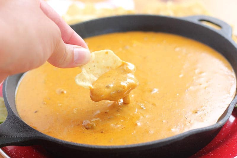 queso dripping off chip