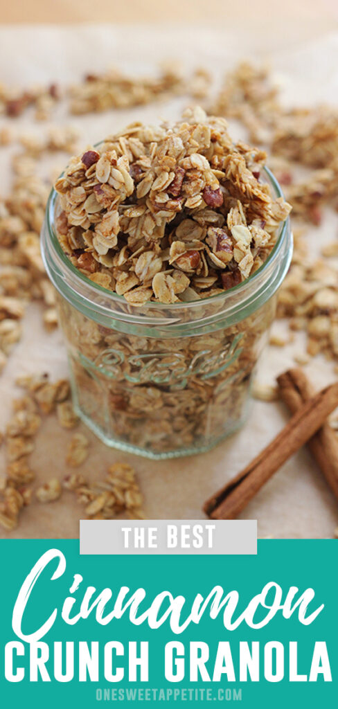 This homemade cinnamon crunch granola recipe is a family favorite! Full of flavor and the perfect snack recipe!