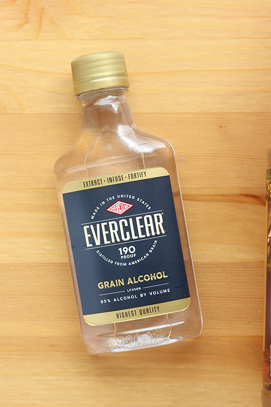 bottle of everclear on tabletop