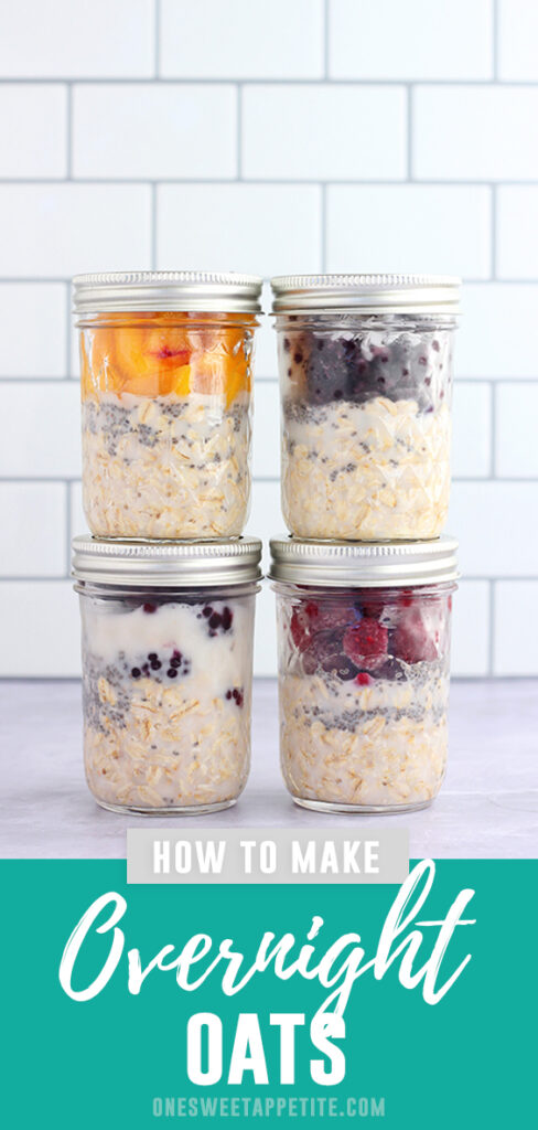 The BEST overnight oats recipe. This basic oats recipe is the perfect base to any topping. Ready in minutes and 4 different topping suggestions!