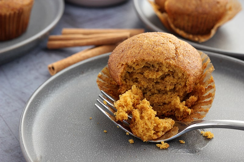 pumpkin muffin with bite cut out onto fork