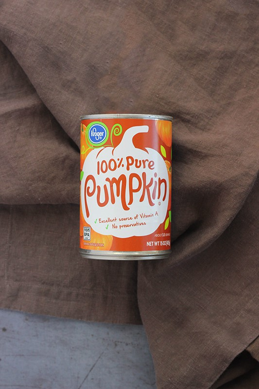 pumpkin puree on brown napkin