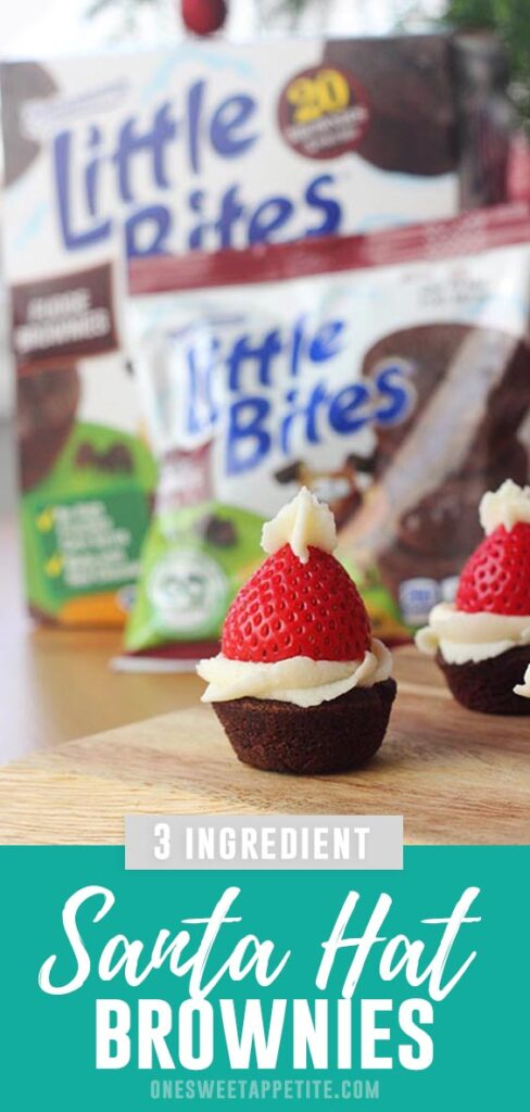 These 3 Ingredient Brownie Santa Hats are a fun Holiday snack the entire family will love. Quick, easy, and festive!