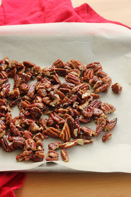 Candied pecans ready for the oven