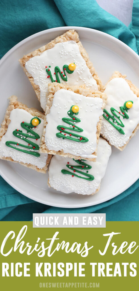 These easy Christmas Tree Rice Krispie Treats use only a handful of ingredients and are the perfect dessert recipe! Quick to make and fuss-free!