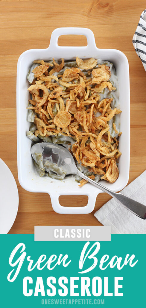 You can not go wrong with a classic green bean casserole recipe filled with canned or fresh green beans, mushroom soup, and topped with fried onions. Try this Thanksgiving recipe for your next gathering!