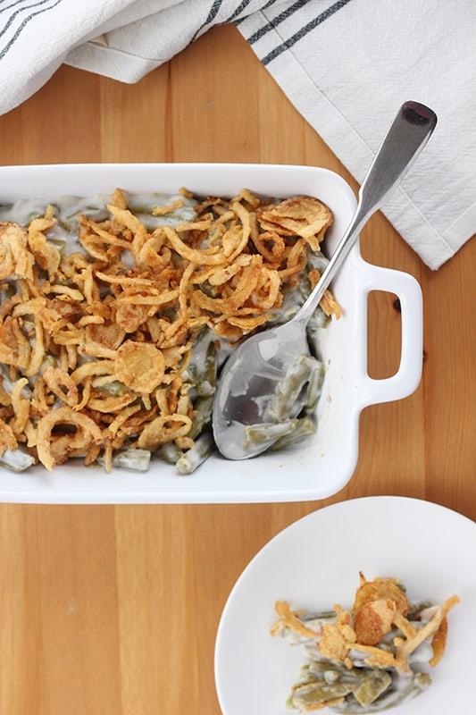 Green Bean Casserole Recipe spooned onto plate