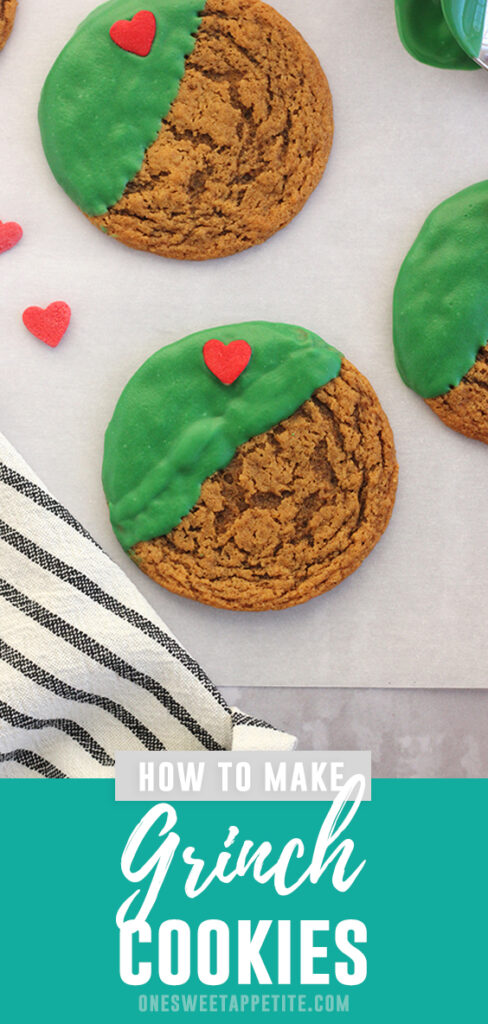 Decorating Christmas cookies doesn't have to be complicated! These easy Grinch cookies are made with gingersnaps dipped in green chocolate with a single sprinkle heart.