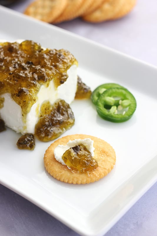 Jalapeno Jelly on cracker with cream cheese