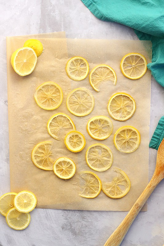 candied lemons drying on parchment