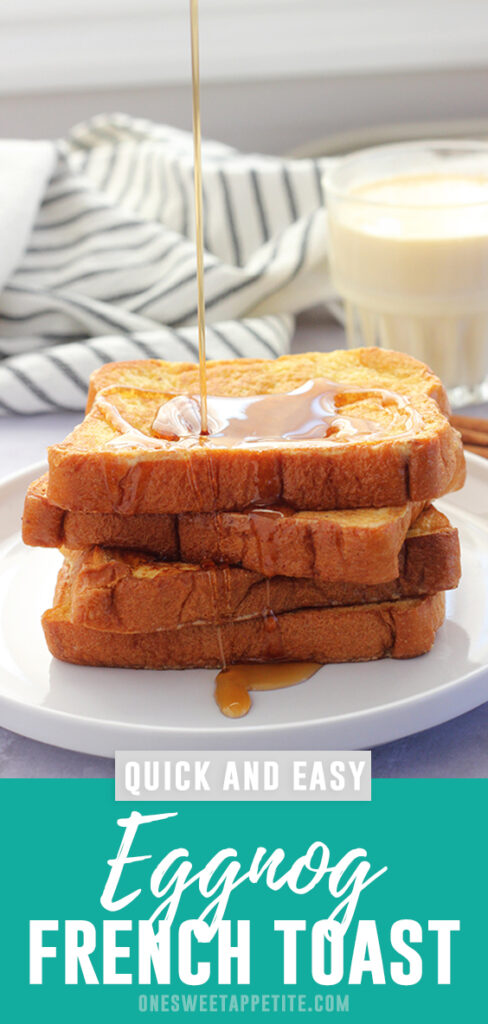 This easy Eggnog French Toast Recipe is packed with holiday flavor! The perfect Christmas or New Years breakfast recipe.