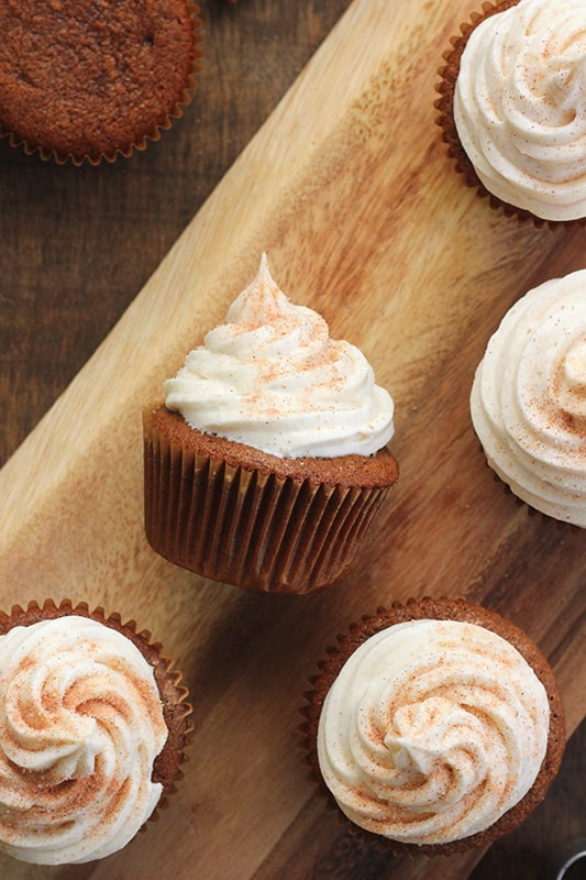 Gingerbread Cupcakes Recipe on wooden serving tray