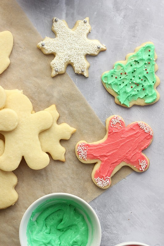 Decorated Sugar cookies on a white counter