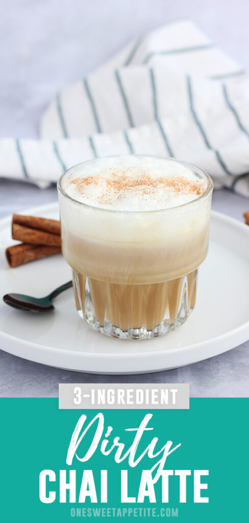 This Dirty Chai Latte Recipe is the perfect combination of tea and espresso. Three ingredients and ready in under 10-minutes!