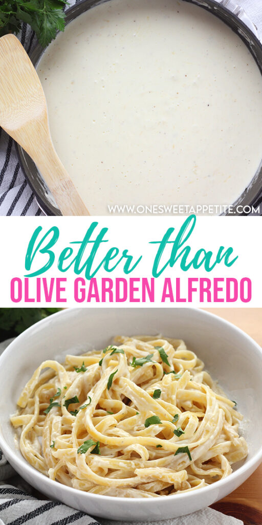 This homemade alfredo sauce recipe is better than Olive Garden! Minimal ingredient and big bold flavor. Perfect for pasta night!