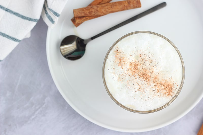 Top down image of a dirty chai latte recipe