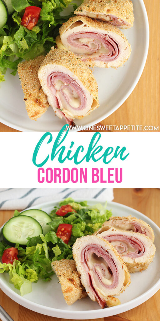 Ham and swiss cheese is rolled into a thin chicken breast and baked to perfection in this easy chicken cordon bleu recipe.