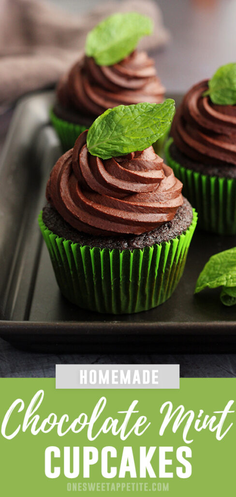 This easy recipe from mint chocolate cupcakes is the perfect from-scratch cake recipe! Filled with mint ganache and topped with chocolate mint buttercream.