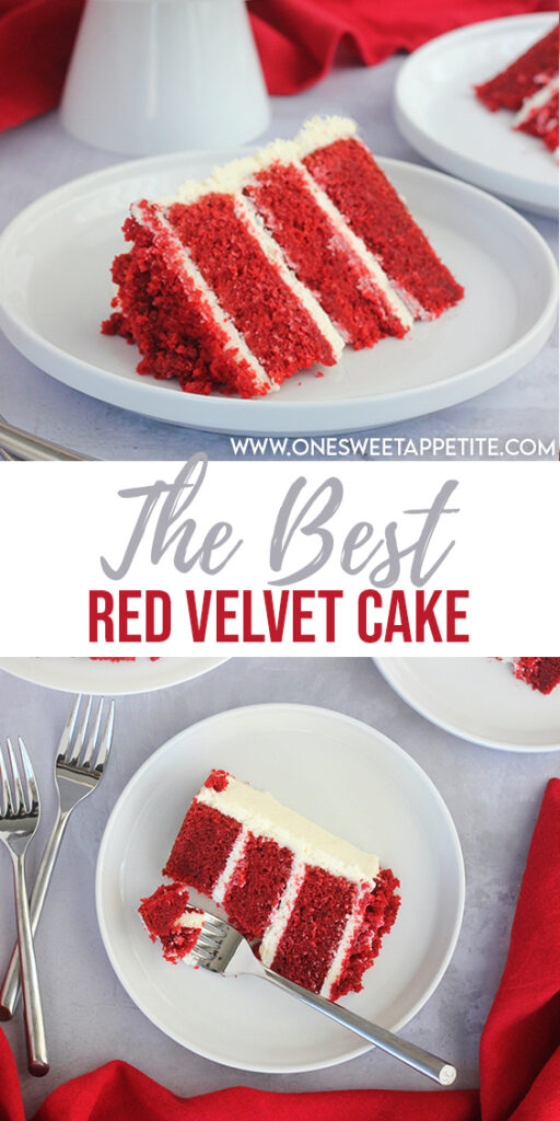 This Easy Red Velvet cake is made with buttermilk and topped with a rich and creamy cream cheese frosting. Delicious and beautiful!