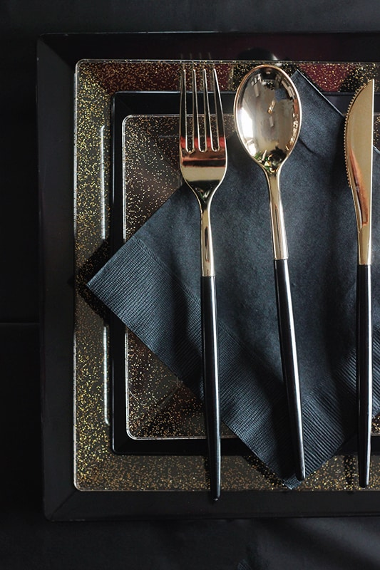 Gold and black silverware