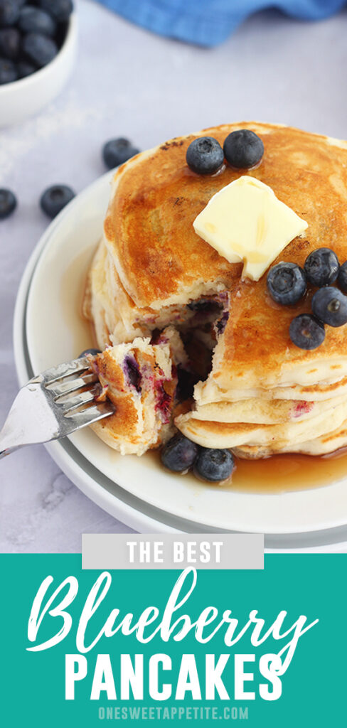 This is easily the BEST Blueberry Pancakes Recipe. Light and fluffy pancakes packed with fresh blueberries and topped with maple syrup. A delicious and easy breakfast recipe.
