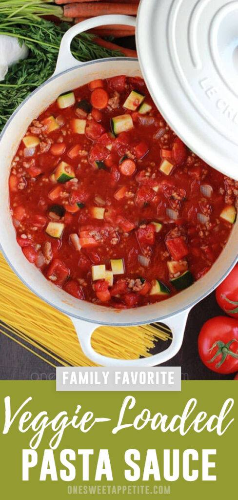 This Veggie Packed Pasta Sauce is a staple in our menu. Made regularly and a super simple way to create a hearty sauce that the entire family will love.