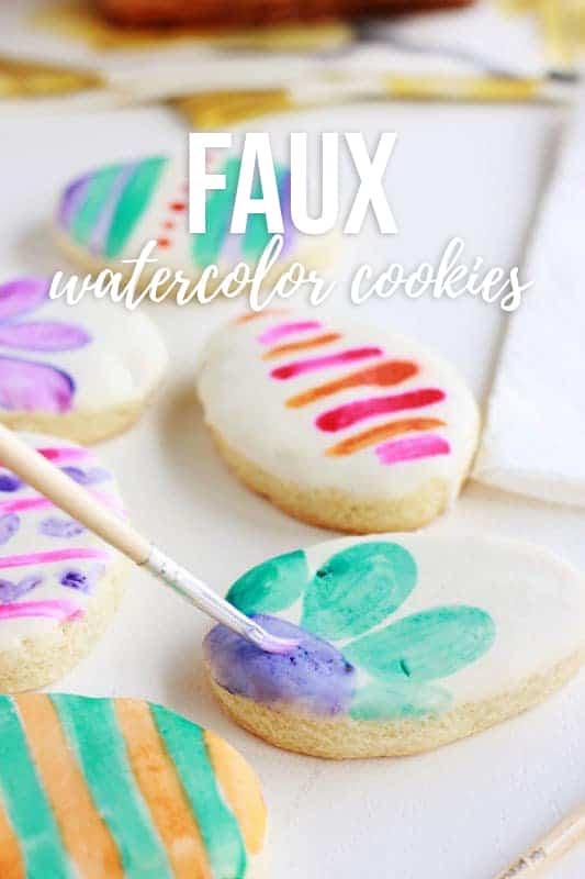 faux watercolor cookies