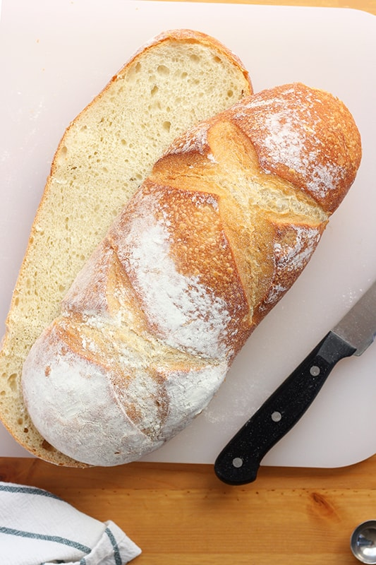 French Bread Sliced in Half