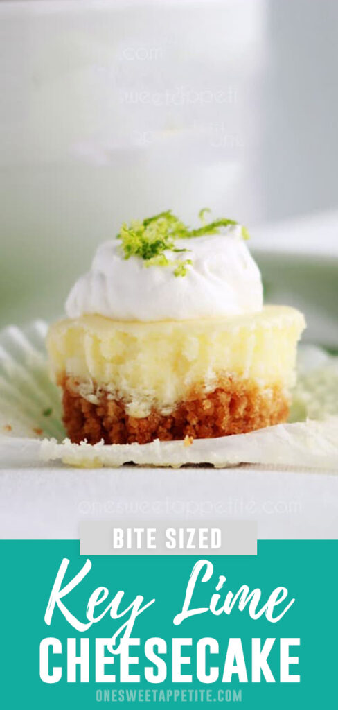 These mini key lime cheesecakes are the perfect bite sized treat! No-fail, which is a big deal with cheesecake, and bold citrus flavor.