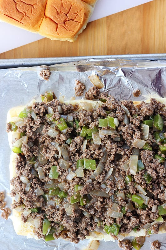 Ground Beef cheesesteak sliders