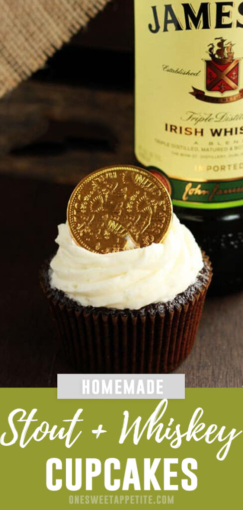 This recipe for Stout Whiskey Cupcakes start with a stout cake base, are filled with a delicious whisky ganache, and topped with a sweet Irish cream frosting!