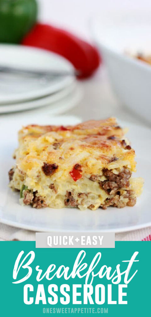 This easy breakfast casserole recipe is a winner. Made with hash browns, sausage, and cheese. The perfect no-fuss savory breakfast recipe!
