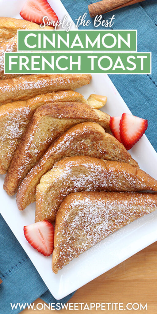 This cinnamon French toast recipe only requires a few basic ingredients and is ready in 20 minutes! Serve this simple recipe for breakfast or brunch for a meal that the entire family will LOVE.
