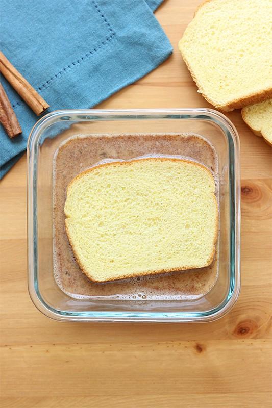 brioche bread slice in french toast batter