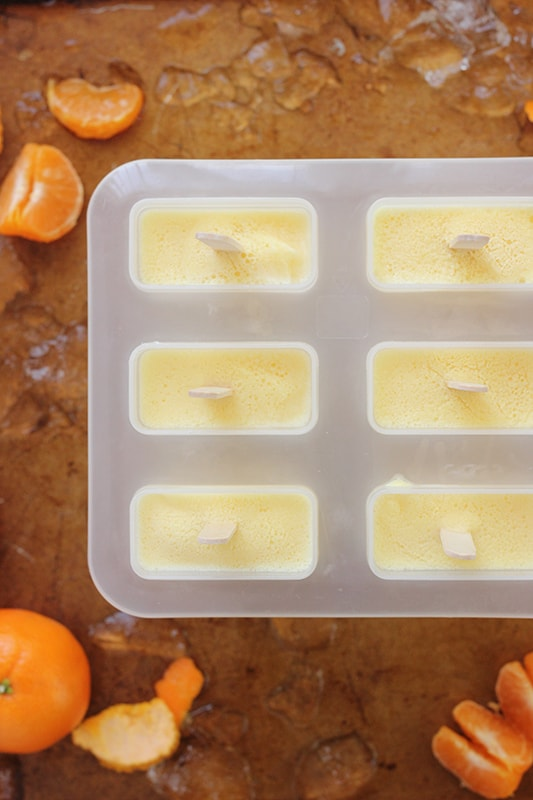 Creamsicle popsicles in a popsicle mold