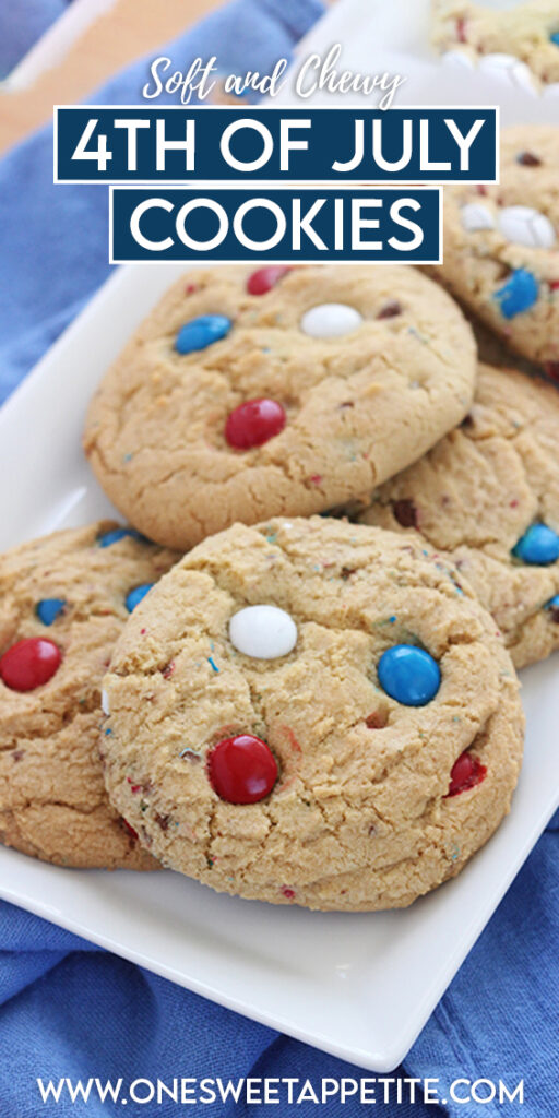 These 4th of July Cookies are a simple make-ahead treat your entire family will love! Filled with red, white, and blue candies for the perfect patriotic look.