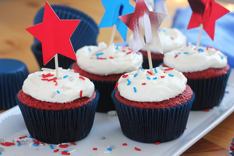Red Velvet 4th of July Cupcakes