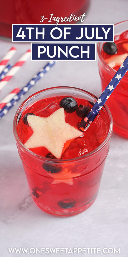 This super simple 4th of july punch is non-alcoholic and uses only THREE main ingredients. Added fruit gives it that patriotic red, white, and blue color that is perfect for your celebrations!