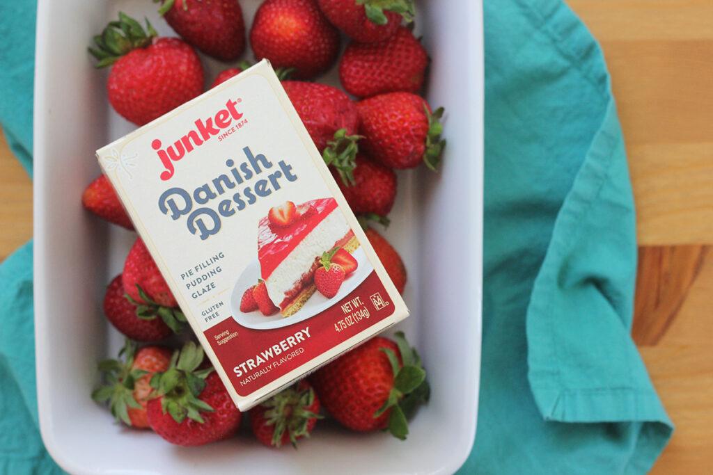 Danish Dessert in a box with fresh strawberries