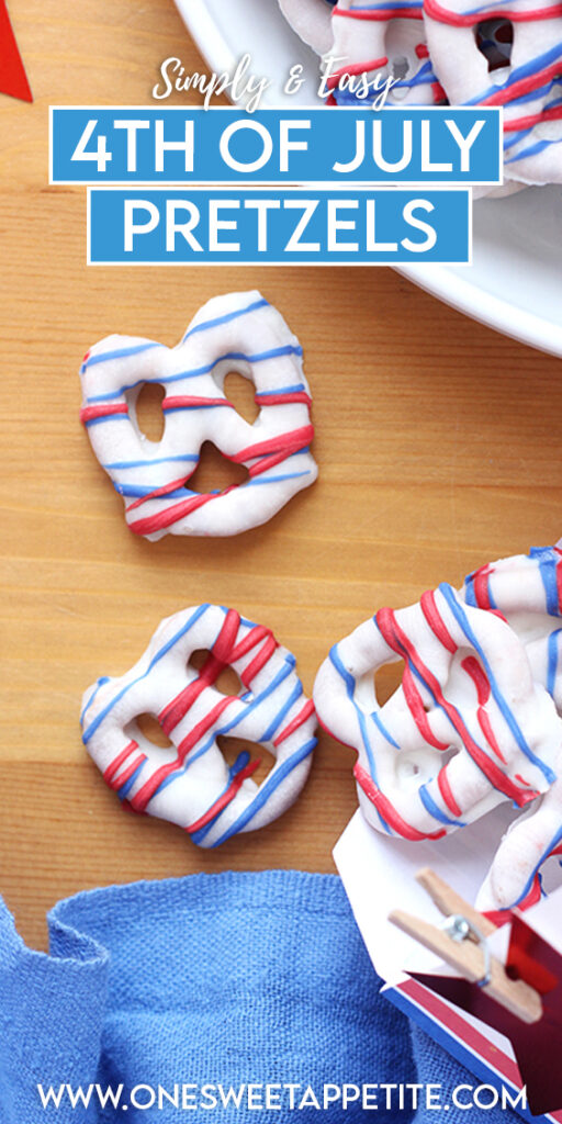 This easy treat for white chocolate covered pretzels is PERFECT for the 4th of July. With only two main ingredients and less than 30 minutes of prep- it's a go-to no-bake treat!