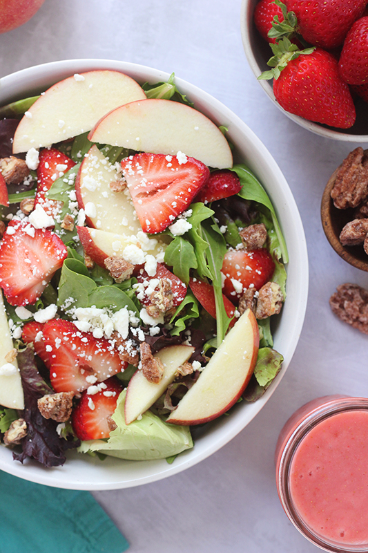 Close up image of a strawberry harvest salad
