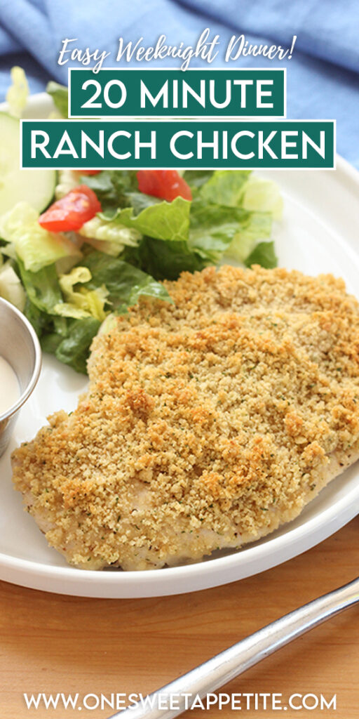 This incredibly simple Baked Ranch Chicken recipe is a go-to dinner idea! Made with 5-ingredients, you can have this easy chicken dinner ready in under 30 minutes! Simple and delicious.