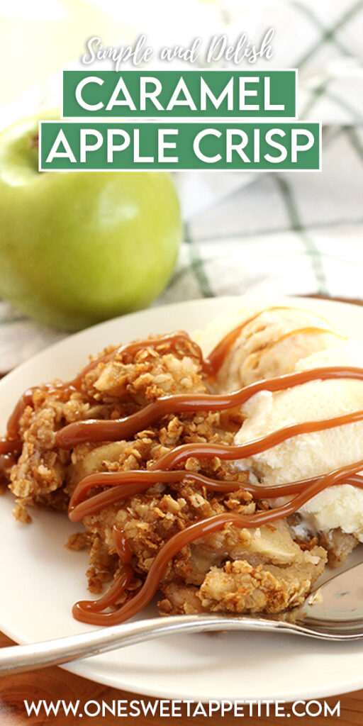 Apple crisp with caramel drizzle and vanilla ice cream