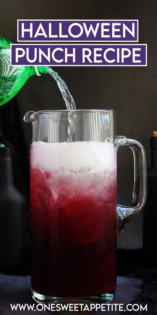pinterest image with soda pouring into a pitcher filled with grape juice