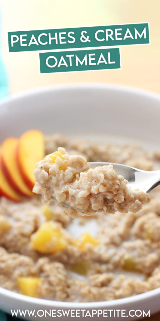 Enjoy peach season all year long with this homemade peaches and cream oatmeal! Ready in under 5 minutes and perfect for fresh or canned peaches! Dare I say this recipe is even BETTER than the pre-made packets!