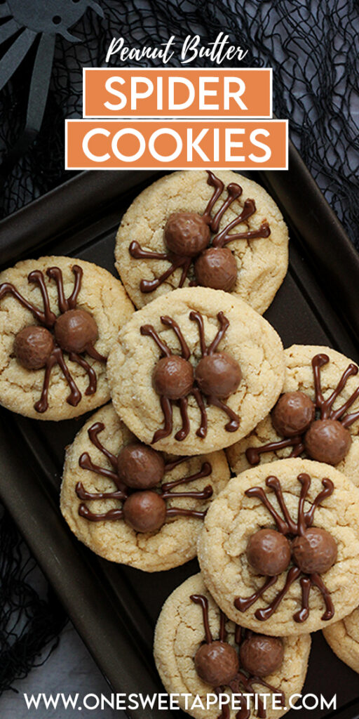 plate of spider cookies with a label on top