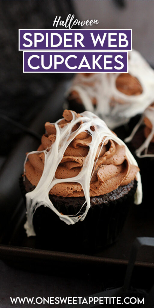 Pinterest graphic image with chocolate spider web cupcakes